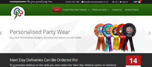 Customised Party Wear- Badges, Rosettes, Sashes and more